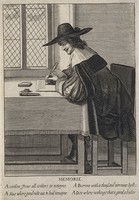 view A man writing; representing the faculty of memory. Engraving, 16--.
