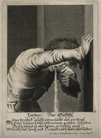 view A man vomiting after overeating and drinking; representing the sense of touch. Engraving by J.J. Kleinschmidt after Jan van de Velde the younger.