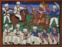 view The battle of Gwalior: the Rani of Jhansi leads her troops. Gouache drawing, 186-(?).