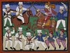The battle of Gwalior: the Rani of Jhansi leads her troops. Gouache drawing, 186-(?).