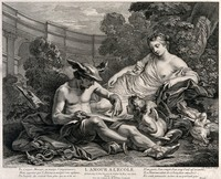 view The god Mercury, with Venus in the background, tries to teach Cupid to read. Engraving by R. Gaillard, 1744, after Van-Loo le pere.