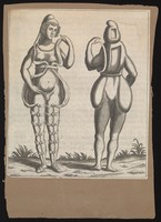 view An hermaphrodite, front and back view, wearing a loose costume. Engraving, c.1690.