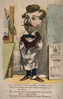 view A barber standing with his hands in his pockets. Coloured lithograph.