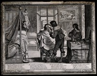 view A barber trimming a man's moustache in his bedchamber; in the left-hand background a man attends to various heated hair-dressing implements. Engraving.