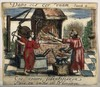 A blacksmith's forge, in which Divine Love prepares to hammer two hearts into one, with the aid of the Soul, who operates the bellows. Coloured etching, 16--.