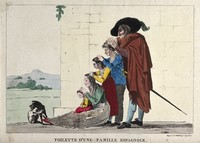 view A Spanish family picking lice or fleas from each other's heads. Coloured etching, 1812.