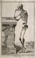 view A human skeleton, leaning against a tomb: lateral view. Engraving by R. Benard, late 18th century, after A. Vesalius, 1543.