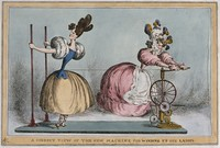view A woman is turning a wheel which is tightening the string around a girl's waist in order to make it smaller. Coloured etching by W. Heath, ca. 1830.