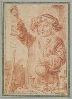 view A medicine vendor holding up a small flask of medicine for sale. Red chalk drawing.