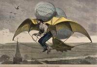 view A man flying above a church with wings and balloons attached to him. Coloured wood engraving, 1877.