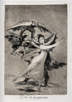 view A young dancer trying to escape winged figures with men's heads. Etching by F. Goya, 1796/1798.