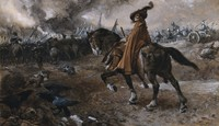 view Death as general rides a horse on a battlefield. Watercolour by Edgar Bundy, 1911.
