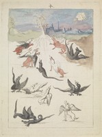 view Dragons and griffins around a lone flowering tree in a landscape on the outskirts of a town; representing a stage in the alchemical process. Coloured etching after etching, ca. 17th century.