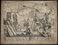 view A sculpture yard filled with copies of Greek and Roman sculptures, together with contemporary people and objects. Engraving by William Hogarth, 1753.