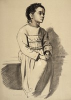 view A woman diagnosed as suffering from melancholia. Lithograph, 1892, after a drawing made for Sir Alexander Morison.