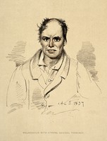 view A man diagnosed as suffering from melancholia with strong suicidal tendency. Lithograph, 1892, after a drawing by Alexander Johnston, 1837, for Sir Alexander Morison.
