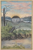 view A black sun with a face descends behind the horizon of a marshy landscape; representing the state of putrefaction in alchemy. Watercolour painting.