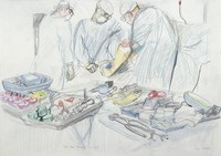 view A surgical operation: total knee replacement. Drawing by Virginia Powell, 1997.