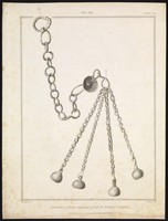 view A short-handled flail (weapon) with four metal chains ending in metal weights. Engraving by J. Basire after R. Stothard, 1827.
