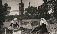 view A young nun digging a grave while another nun sits nearby. Process print after J.E. Millais, 1858-1859.