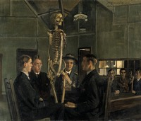 view Anatomy lessons at St Dunstan's. Oil painting by J.H. Lobley, 1919.