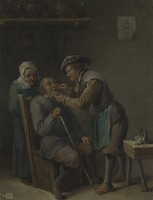 view A surgeon treating the teeth of a seated man. Oil painting after David Teniers the younger.