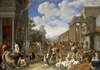 view The plague of the Philistines at Ashdod. Oil painting by Pieter van Halen, 1661.