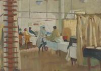 "view Royal Naval Hospital, Haslar: massage room. Oil painting by Godfrey Jervis Gordon (""Jan Gordon"")."