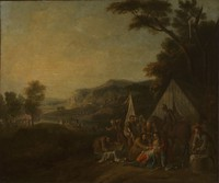 view A battle with a scene of military surgery. Oil painting attributed to a Flemish painter, ca. 1700(?).