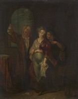 view A physician examining the urine of a pregnant girl. Oil painting attributed to a Netherlandish painter, 18th century.
