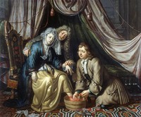 view A physician and a surgeon attending to a woman patient. Oil painting by Matthijs Naiveu.