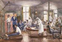 view Physical therapy at Bath War Hospital. Watercolour by E. Horton, ca. 1918.