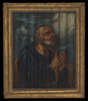 view Saint Francis of Assisi, Saint Francis de Paul, and Saint Peter penitent. Oil painting by a Spanish painter, 17th (?) century.