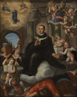 view Apotheosis of an ecclesiastic. Oil painting.