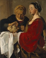 view Herodias mutilating the severed head of Saint John the Baptist held by Salome. Oil painting attributed to Pieter de Grebber.