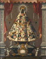 view The Virgin of Guadalupe. Oil painting, 1745.