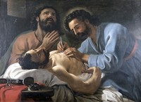 view Saint Cosmas and Saint Damian dressing a chest wound. Oil painting by Antoine de Favray, 1748.