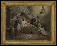 view A woman in bed in a sick-room, attended by a physician, receiving the blessing of the Madonna del Parto. Oil painting by R. Pistoni, 1872.
