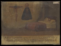 view D.G., ill in bed, praying to Christ and the Virgin of the Seven Sorrows, 1859. Oil painting by a Spanish painter, 1859.
