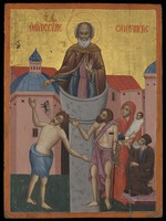 view Saint Simeon Stylites the younger. Tempera painting.