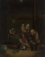 view Interior with a surgeon attending to a man's foot, and three other figures. Oil painting by a German (?) follower of David Teniers the younger.