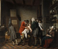 view Interior with a surgeon and his apprentice attending to a patient. Oil painting by Jan Josef Horemans, 1722.