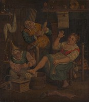 view A woman surgeon and her assistant cupping a patient. Oil painting after Cornelis Dusart.