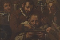 view A barber-surgeon attending to a man's forehead. Oil painting.