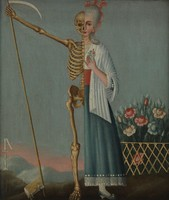view A woman divided into two, representing life and death. Oil painting.