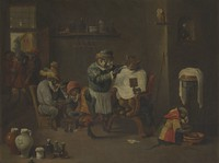 view A monkey barber-surgeon's establishment. Oil painting after David Teniers the younger.