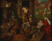 view An alchemist. Oil painting after Pieter Bruegel.