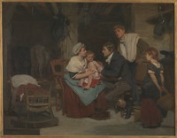 view Edward Jenner vaccinating a boy. Oil painting by E.-E. Hillemacher, 1884.