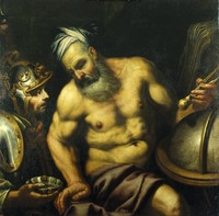 view Aristotle refusing the hemlock (?). Oil painting by a painter in the circle of G.B. Langetti.