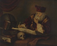 view A man supposed to be Nicholas Alcocke, surgeon to King Edward VI. Oil painting.